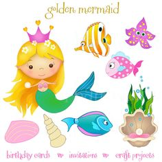 GOLDEN MERMAID with watery backgrounds - Clip art set in premium quality 300 dpi, Png and Jpeg files. Mermaid Clipart, Pink Fish, Mermaid Birthday, Cute Cartoon, The Little Mermaid, Art Images, Light In The Dark, Gift Tags, Coloring Pages