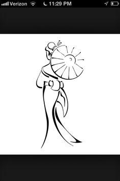 Simple geisha tattoo design