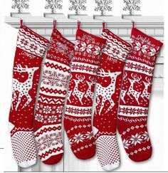 Knit Christmas Stockings - Red White - Renindeer or Snowflake Design Scandinavian Nordic Modern Holiday Theme