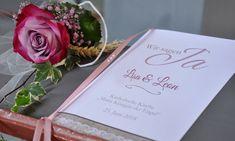 Modernes Kirchenheft zur Hochzeit mit Vintage Spitze, rosa taupe Table Decorations, Pink, Vintage Lace, Invitations, Dinner Table Decorations
