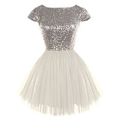 Dream State Dress ($120) ❤ liked on Polyvore featuring dresses, vestidos, short dresses, white mini dress, white sequin cocktail dress, mini dress and cap sleeve cocktail dress