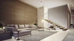 Living Room, Cream Chaise Lounge Soft Grey Rugs Folding Floor Lamp Recessed Downlights Wood Slats Paneled Wall Wooden Floating Staircase Cream Tile Flooring Modern Coffee Tables Modern Chair: Lovely Living Rooms for a Design Loving Life