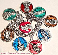 8 inch Religious Christian Charm Bracelet Featuring 9 round Holy medals with prayers on the back: *Jesus Divine Mercy, *St. Jude Patron St. of Desperate Situations,*St. Padre Pio-Blessed with the Gift of Healing,*Our Lady of Fatima healing Medal*Archangel St. Michael protection Medal,*Our Lady of Lourdes Healing Medal,*St. Anthony with Child Jesus,*Our Lady of Guadalupe,Immaculate Heart of The Blessed Mother, Virgin Mary.