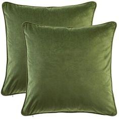 Gracewood Hollow Osmanagic Square Solid Velvet Pillow Covers (Set of (Tarragon), Green Green Velvet Pillow, Green Pillows, Velvet Pillows, Throw Pillow Sets, Pillow Covers, Throw Pillows, Living Room Green, Living Rooms, Pillow Arrangement