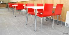 Spaceist supplied red Anno cafe chairs and white rectangle cafe tables for Audley End House. Audley End is a historic house managed by English Heritage. College Furniture, Cafe Furniture, Cafe Tables, Cafe Chairs, High Chairs, White Dining Room Chairs, Plywood Chair, White Cafe, Modern Cafe