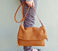 Cross Body Bag - Plus Size - Fabric Messenger Bag - Boho Hobo Bag - Custom Length Leather Strap - Nutmeg Cinnamon 15, $85.00. USA