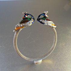 Peacock Cuff Bangle Bracelet Rhinestone Enamel by LynnHislopJewels