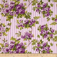 April Cornell Glorious Garden Rose on Stripes Lilac from @fabricdotcom  Designed by April Cornell for Free Spirit, this fabric is perfect for quilting, apparel and home decor accents. Colors include white, green and shades of purple.