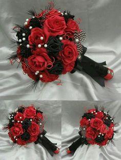 HARLEQUIN Black Red and white Luxury bridal bouquet by ericacavanagh, - Hochzeit Bouquet Noir, Black Bouquet, Red Bouquet Wedding, Bridal Bouquets, Rose Bouquet, Black Red Wedding, Black Bride, Red Black Weddings, Prom Flowers