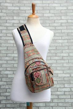 Hippie Chic Sling backpack Purse colorful - Boho Style Shoulder Sling bag,Gypsy Holster bag,Coachella festival bag by TribalandHipster on Etsy Sling Backpack Purse, Small Backpack, Canvas Backpack, Hippie Chic, Indie Fashion, Mens Fashion, Weekender, Shoulder Sling, Go Bags