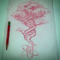 Beautiful DNA tree, tattoo, but without atom at bottom Dna Tattoo, Tattoo Drawings, Body Art Tattoos, Cool Tattoos, Tatoos, Tree Drawings, Chemistry Tattoo, Science Tattoos, Dna Drawing