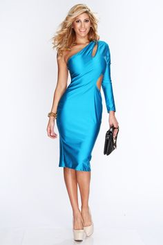 Are you looking for something over the top sexy to wear for tonight? Well we have it for you! This stylish dress is a must have! It will catch attention where ever you go. Featuring one shoulder long sleeve, cutout design, long length, and finished with a sexy tight fit. 83% polyester 17% rayon.