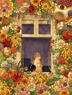 Flower Garden Throw Pillow by Felicia Chiao - Cover x with pillow insert - Outdoor Pillow Pretty Art, Cute Art, Art Bizarre, Arte Indie, Wall Collage, Wall Art, Illustration Art, Illustrations, Hippie Art