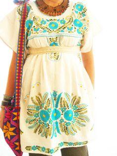 Aida Coronado: Turquoise Mexico embroidered love