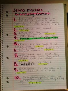 Jenna Marbles drinking game
