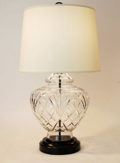 Cordless Antique Traditional Cut Crystal And Black Metal Table Lamp
