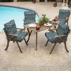 Sapphire Aurora Blue Printed Outdoor Patio Cushion - Arden Selections Patio Furniture Cushions, Outdoor Dining Chair Cushions, Patio Cushions, Patio Dining, Patio Chairs, Seat Cushions, Outdoor Furniture Sets, Dining Chairs, Pillows