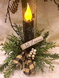 "Primitive Christmas Snowman Decor w/ Timer Candle Winter Prim ""Let it Snow"" Series Snowman Unique Handcrafted Gatherings Winter Home Decor Primitive Christmas, Country Christmas, Christmas Snowman, Christmas Crafts, Primitive Snowmen, Wooden Snowmen, Father Christmas, Cowboy Christmas, Primitive Fall"