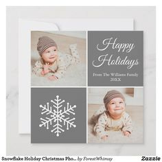 Snowflake Holiday Christmas Photo Card Personalize with your photos,family name, year, personal greeting, etc. Modern Christmas Cards, Christmas Photo Cards, Christmas Photos, Holiday Cards, Happy Holidays, Christmas Holidays, Holiday Photos, Card Sizes, Snowflakes