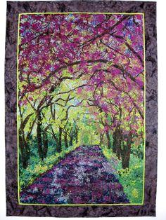Art Quilt , Spring Stroll , Fabric Wall Hanging , Confetti Quilt , Fiber Art , New York City Art, Quilted Landscape Wall Decor, Central Park