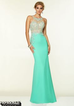 Come to Stephen's Prom and Beyond and try on this stunning beaded sheer gown with an open back! #PROM2015