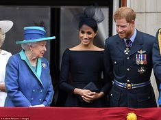 The Queen was joined on the balcony by her sons, Prince Charles and Prince Andrew, the Duc... #meghanmarkle