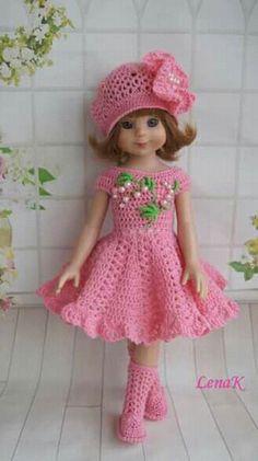 Crochet Doll Dress, Crochet Barbie Clothes, Baby Doll Clothes, Knitted Dolls, Knitting Dolls Clothes, Doll Clothes Patterns, Newborn Crochet, Crochet Baby, Baby Girl Frock Design