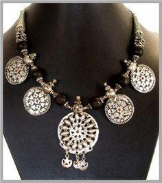 rare antique Yemeni silver and black coral necklace | vividvault
