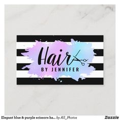 Salon Business Cards, Hairstylist Business Cards, Cleaning Business Cards, Black Business Card, Modern Business Cards, Business Card Size, Professional Business Cards, Rose Gold Balayage, Purple Gold