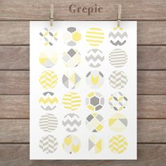 Circle collage: 1.5 inch YELLOW GEOMETRIC circles patterns for pendants, bottle caps, paper craft, tribal collage sheet, pattern circles #digitalpaper #grepic