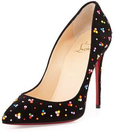 Christian Louboutin Pigalle Follies Crystal Red Sole Pump, Black/Multi