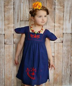 Look at this Little Cotton Dress Blue & Red Nayeli Dress - Infant, Toddler & Girls on #zulily today!