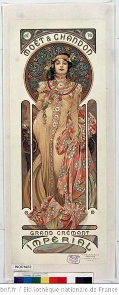 Alphonse Mucha Moet e Chandon Grand Cremant Imperial - Jugendstil und Art Deco - Arte Mucha Art Nouveau, Alphonse Mucha Art, Art Nouveau Poster, Art Deco Posters, Art And Illustration, Illustrations, Retro Poster, Vintage Posters, Poster Graphics