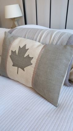 hand printed dove grey Canadian flag cushion cover / etsy helkatdesign
