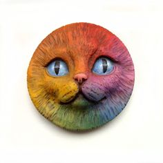 Rainbow Cat Face Cab 40mm Round Kitty Kitten Animal Pet Bright Colorful Polymer Clay Cabochon roygbiv Red Yellow Orange Blue Purple 2646. $12.00, via Etsy.
