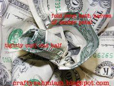 crafty sahm i am: Dollar Bill Rose TUTORIAL Origami Tooth, Origami Ball, Origami Love, Origami Design, Origami Stars, Origami Folding, Origami Paper, Origami Money Flowers, Dollar Bill Origami