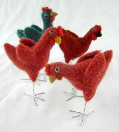 Coriandr / jennymade / needle felt chicken cute folk decoration for a prim country kitchen , gift for chicken lover or easter decoration