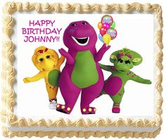 Barney Cast Edible Cake Topper Image by TastyTopperDesigns on Etsy, $6.95