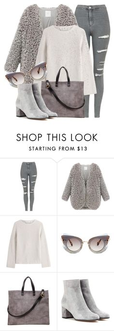 """""""Gray"""" by monmondefou ❤ liked on Polyvore featuring Topshop, Helmut Lang, Miu Miu, Gianvito Rossi and gray"""