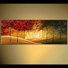 Contemporary Landscape Blooming Trees Painting by by OsnatFineArt