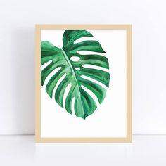 Monstera Wall Art, Monstera Leaf, Palm Leaf Prints, Tropical Leaf Print, Yoga Art for Bedroom, Relaxation Art, Office Print, Printable Art