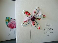 this is a pretty card for that special birthday, it has been made from fabric with a floral print free machined onto card. the card measures 15 cm x and is white with a matching white envelope and sprinkles of happiness. This card is blank inside. Freehand Machine Embroidery, Free Motion Embroidery, Free Machine Embroidery, Fabric Cards, Fabric Postcards, Handmade Birthday Cards, Happy Birthday Cards, Special Birthday, Sister Birthday