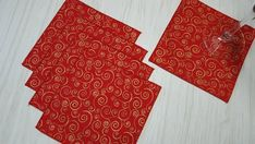 Christmas Cloth Napkins Gold Metallic Swirls on Red Cocktail Beverage 6 Inch Set of 5