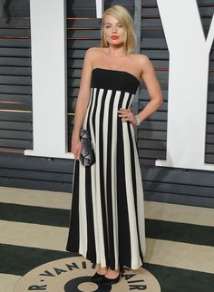 Margot Robbie in Christian Dior at the Vanity Fair Oscar Party in Beverly Hills, California, February 2015.