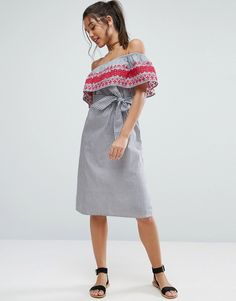 Buy it now. ASOS Off Shoulder Midi Sundress in Stripe Cotton with Embroidery - Multi. Dress by ASOS Collection, Woven cotton, Bardot neck, Ruffle overlay, Embroidered detailing, Striped design, Tie waist, Relaxed fit, Machine wash, 100% Cotton, Our model wears a UK 8/EU 36/US 4 and is 175cm/5'9 tall. ABOUT ASOS COLLECTION Score a wardrobe win no matter the dress code with our ASOS Collection own-label collection. From polished prom to the after party, our London-based design team scour the…