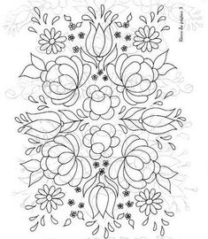 pattern for Bauernmalerei embroidered flowers and leaves-very pretty! Mexican Embroidery, Hungarian Embroidery, Crewel Embroidery, Cross Stitch Embroidery, Embroidery Flowers Pattern, Hand Embroidery Designs, Embroidery Ideas, Embroidered Flowers, Flower Patterns