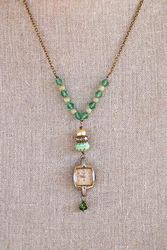 Elizabethantique watch vintage green glass by tiedupmemories,