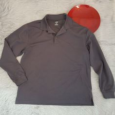 Links Edition Golf Polo Shirt XL Gray Stripe Textured Long Sleeve Dry Wick o549 #LinksEdition #PoloRugby