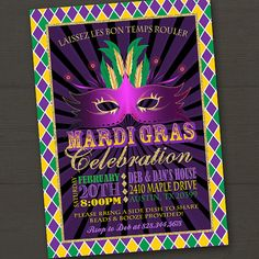 ***PLEASE READ THE ITEM DESCRIPTION*** *** Proofing time is 2 Business Days (M-F) from the date of your order *** Get your beads ready and start your Mardi Gras Party off in colorful style with this Mardi Gras or Fat Tuesday Printable Party Invitation featuring traditional Mardi Gras