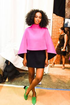 Solange Knowles is pretty in pink in Milly. See who sat front row and where: